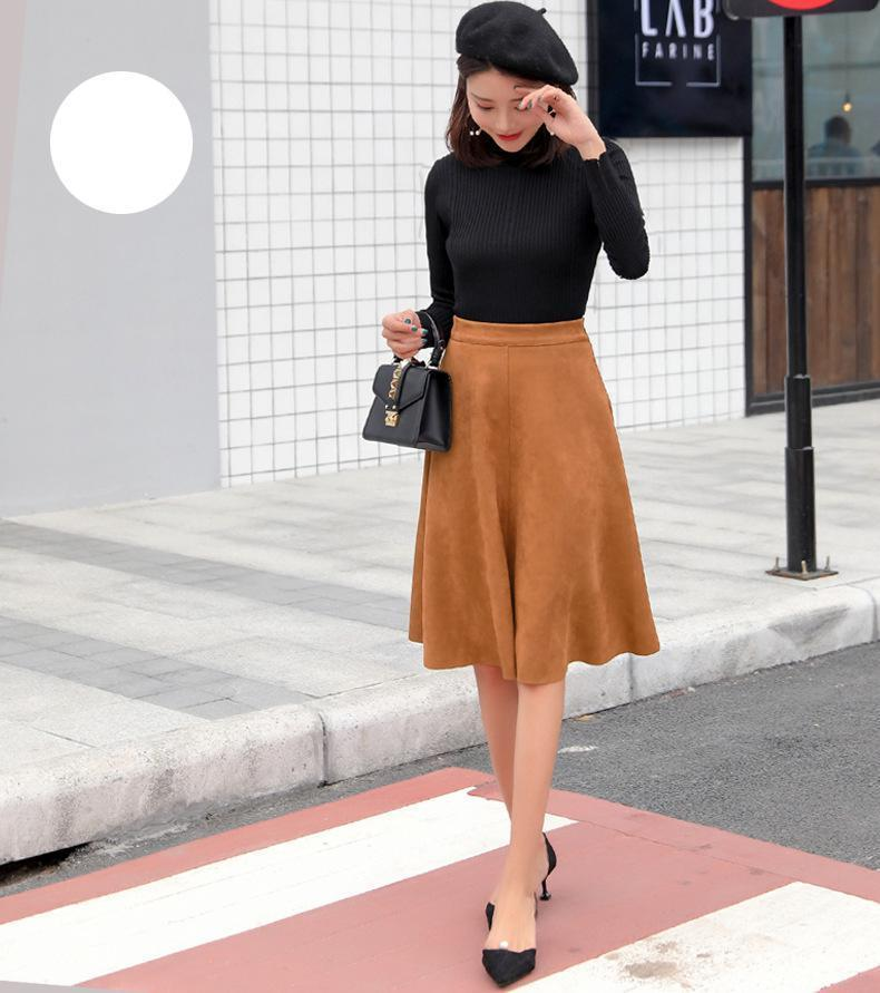 3d22aff168 2019 2019 Spring New Style Suede Skirt Women Available Elegant Vintage All  Match Slim High Waist A Line Skirt Y190411 From Zhengrui06