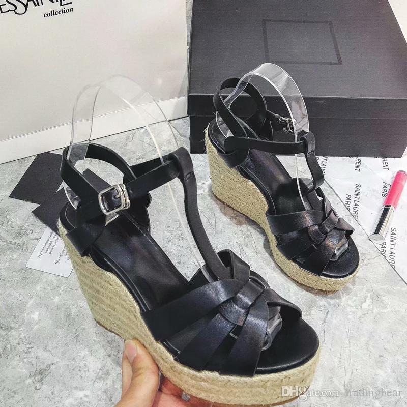 women designer sandals with logo and box fashion luxury women shoes high heels T strappy knitted straw woven wedge shoes