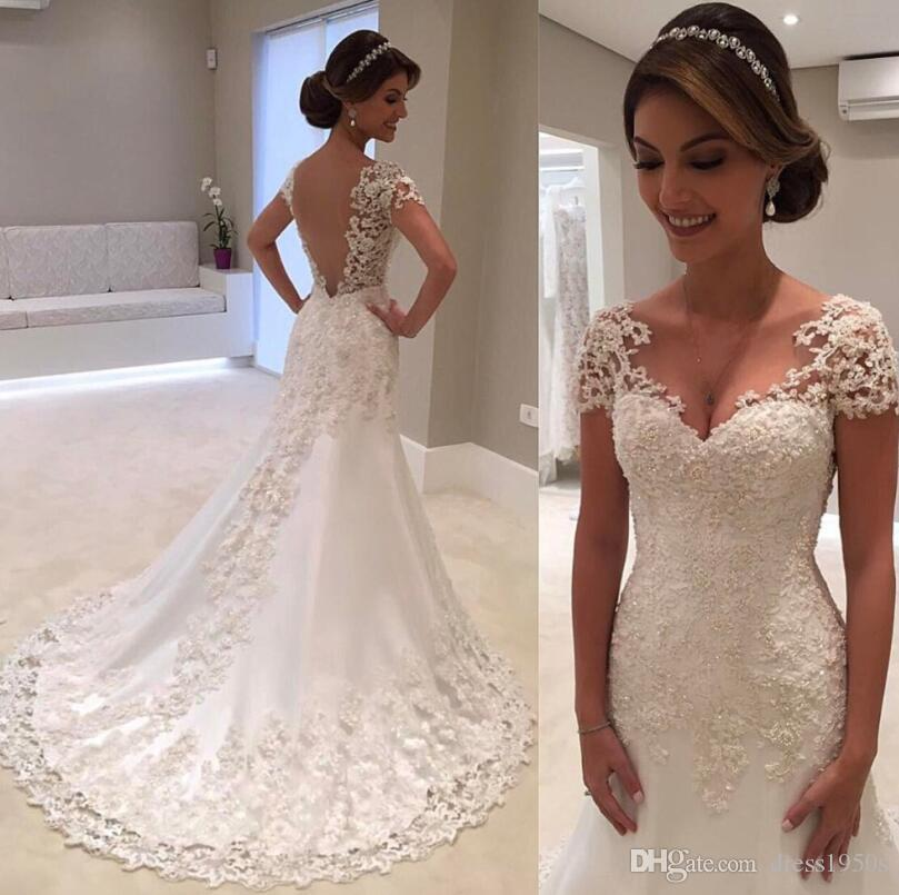 Vintage Lace Mermaid Wedding Dresses 2019 Robe De Mariee Backless Bridal Gowns Handmade Trouwjurk Wedding Gown