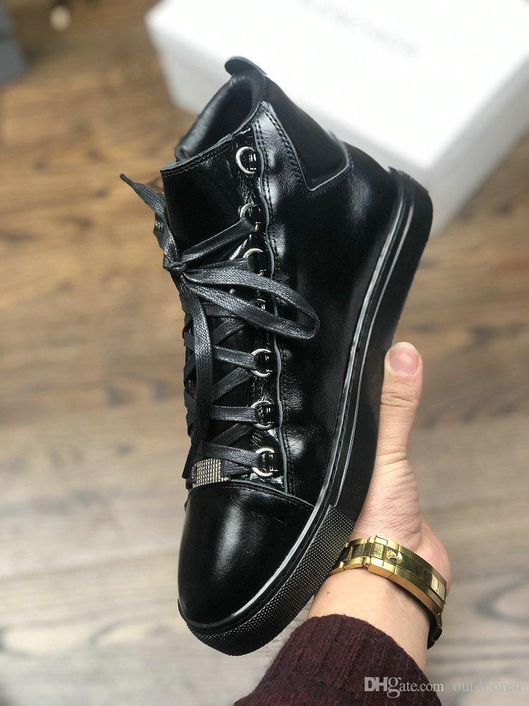 2019 Designer Brand Oil Horse Skin Hide Red Black White Casual Shoes for Mens Genuine Leather 16FW Boots for Man