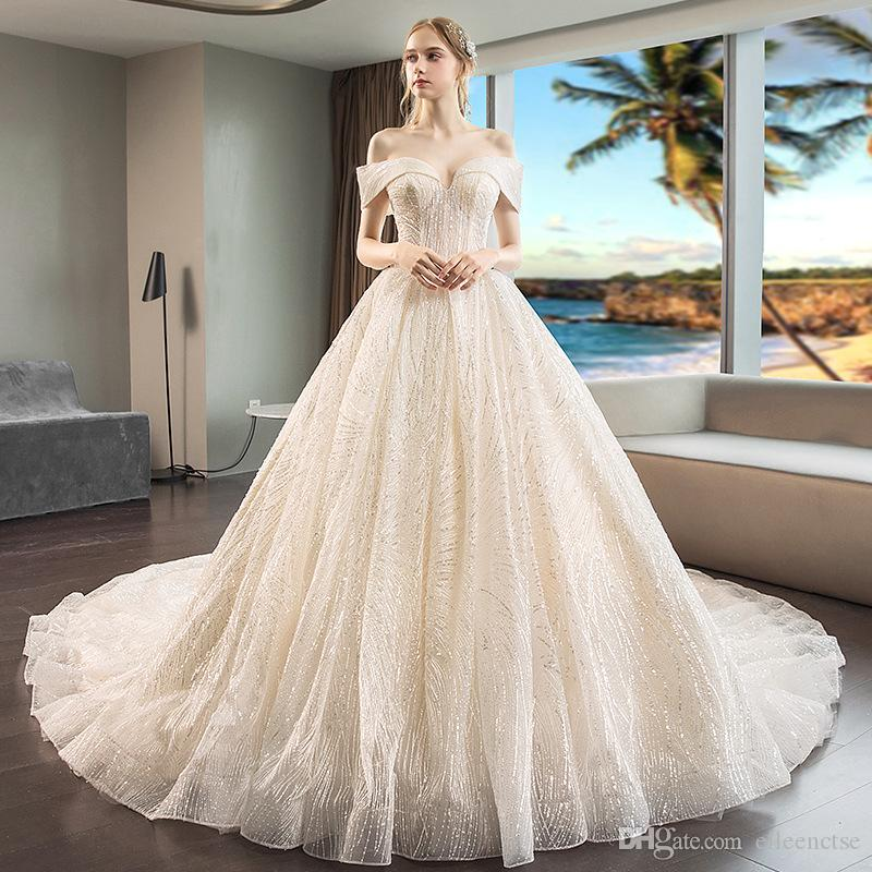 77524f20572c5 White/Champagne Luxury off-shoulder bridal church Empire Wedding dresses  for princess marriage 2019 star feel sequins women wear