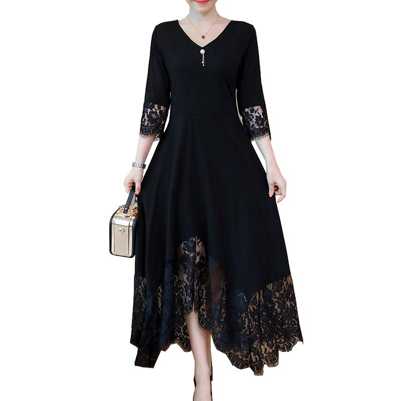 019c68392f5 Black Fall Dresses For Women Elegant Plus Size Lace Stitching Dress Half  Sleeve Lace Up Back Long Party Dress 5XL Vestidos Longo Dressess Woman Dress  From ...