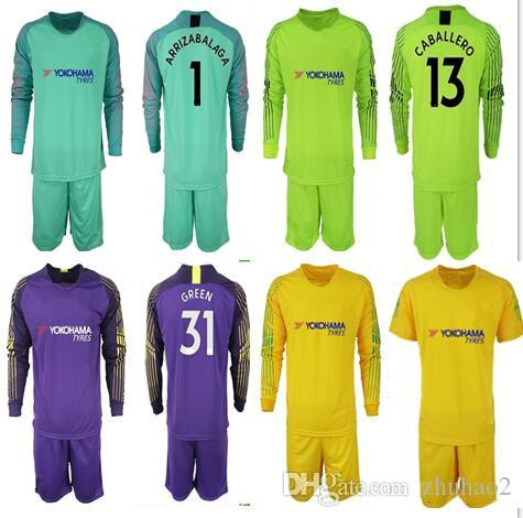 Compre 2018 2019 Camiseta De Fútbol Portero Uniformes Chel   1 ARRIZABALAGA    13 CABALLERO   31 GREEN HAZARD DAVID LUIZ Camiseta De Fútbol Para Adultos  ... 66d98299ad584