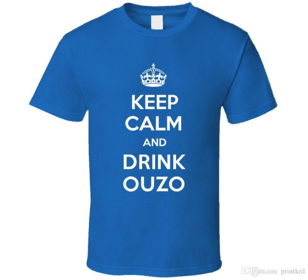 db4b25c493b1e Keep Calm Drink Ouzo Funny Parody T Shirt