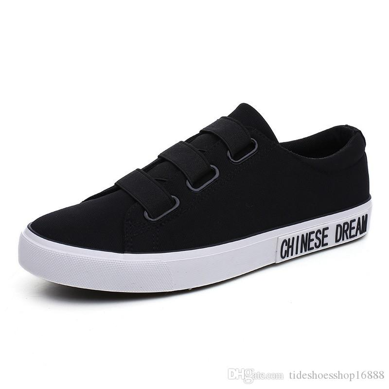 New Mens Shoes Canvas Flat Loafers Black Mens Sneakers Casual Breathable  Shoes for Male 2019 High Quality Handmade Vintage Sneaker Mens Foot Wear Flat  Men ... ce58ce778b3a