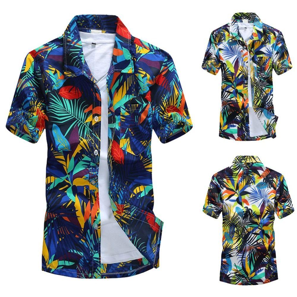 5b7fe659c08 2019 Summer Men Hawaiian Print Short Blouse Sports Beach Quick Dry ...