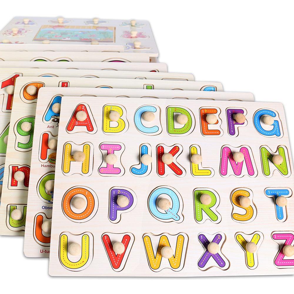5 unids / lote Bebé Montessori Tablero de Agarre de Madera Mano Mano Juguete Educativo Temprano Juguete / Marino Animal Puzzle Juguetes de Aprendizaje Niños L-L011