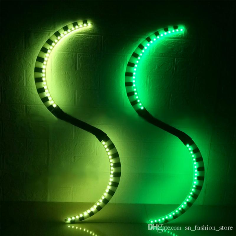 P48 Party ballroom dance led light costumes dj performance wears led sticks disco RGB colorful nunchucks luminous outfit show dj party wear