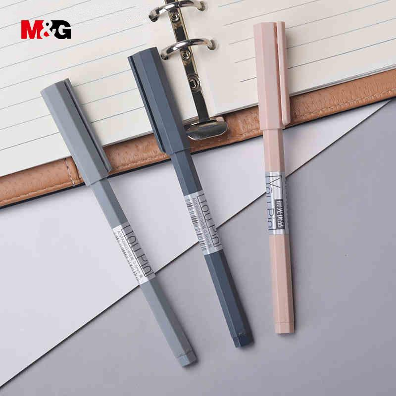M&G wholesale 3pcs hexagonal body elegant ballpoint gel pens for writing stationery office school supplies Minimalism design pen