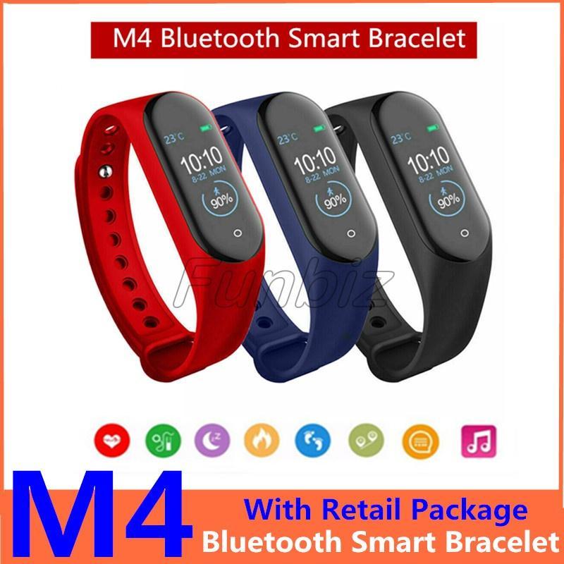 4660719642cf Nueva M4 Banda inteligente Pulseras Fitness Rastreador Salud Monitor de  presión arterial con frecuencia cardíaca Bluetooth Pulsera deportiva para  ...