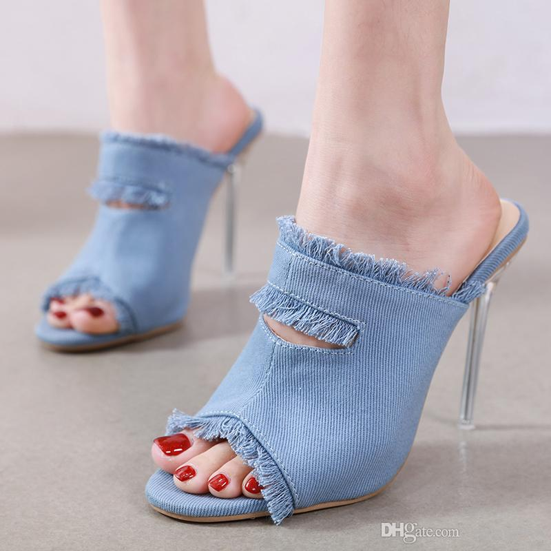 Plus size 35 to 40 41 42 blue denim cloth crystal high heel luxury designer heels women shoes