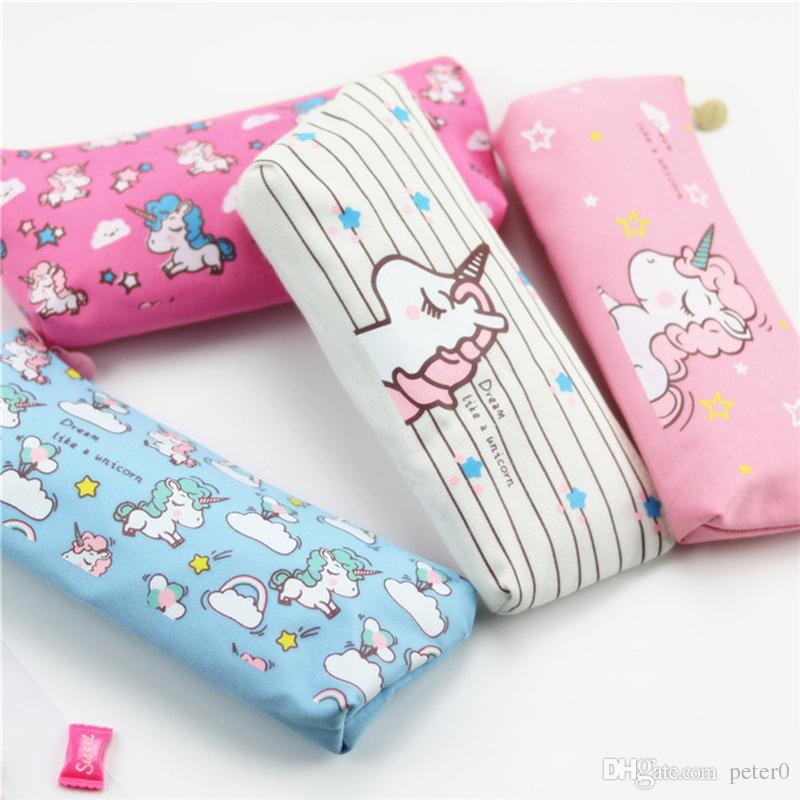 Kawaii Pencil Case Unicorn Flamingo Canvas Gift School Pencil Box Pencilcase Pencil Bag School Supplies Stationery