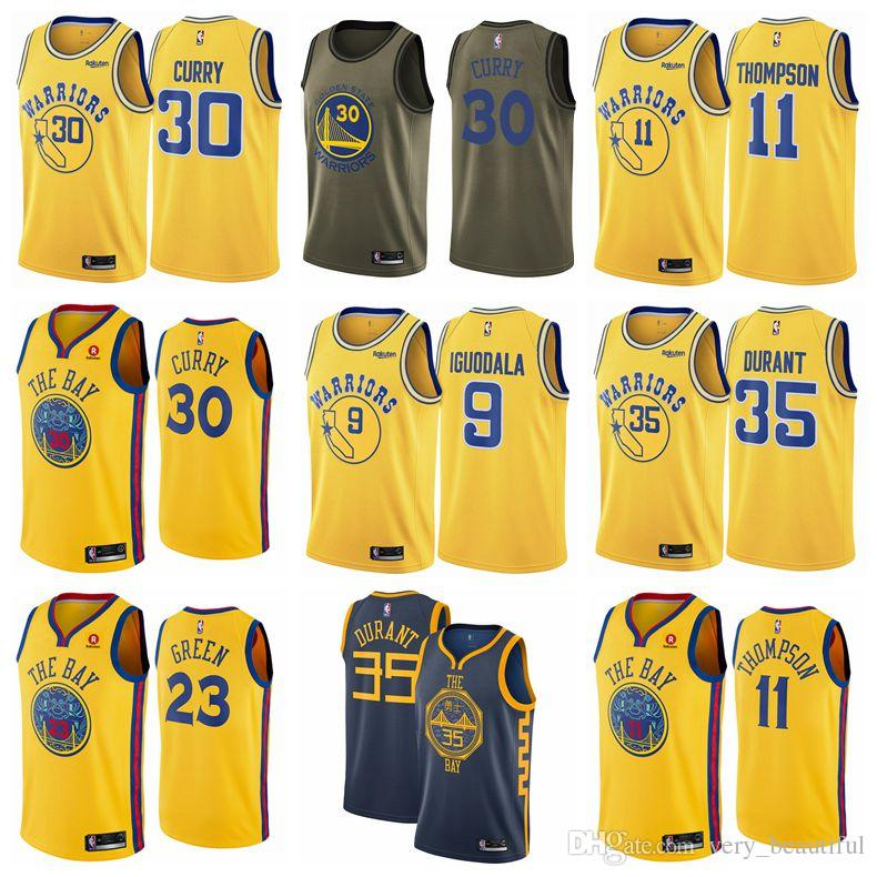 fb0533dd15c 2019 Men Stephen Curry Golden Klay Jersey Thompson State Warriors Kevin  Durant Fanatics Branded Fast Break Andre Iguodala Jersey Royal T Shirts  Online White ...