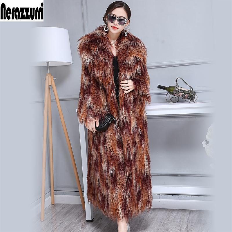 d4f8967140 2019 Nerazzurri Winter Faux Fur Coat Women 2017 Extra Long Multicolor  Shaggy Hairy Maxi Mongolia Sheep Overcoat Plus Size 5XL 6XL 7XL From  Layercuff, ...
