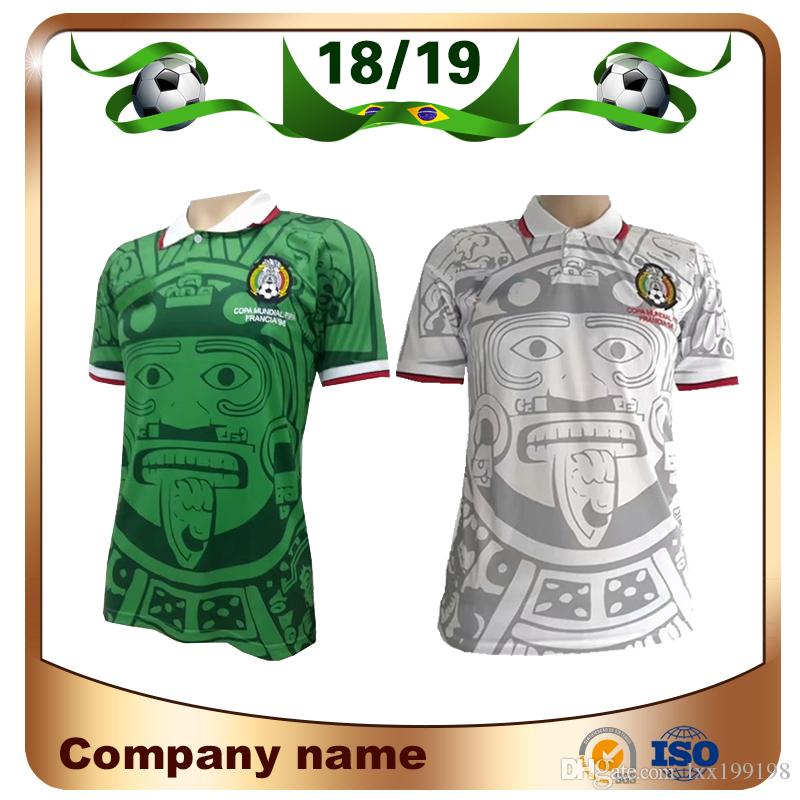 6237afab7 2019 1998 Retro Edition Mexico Soccer Jersey 1998 World Cup Soccer Shirt  Mexico Home Blue Soccer Shirt Away White Short Sleeved Football Uniforms  From ...