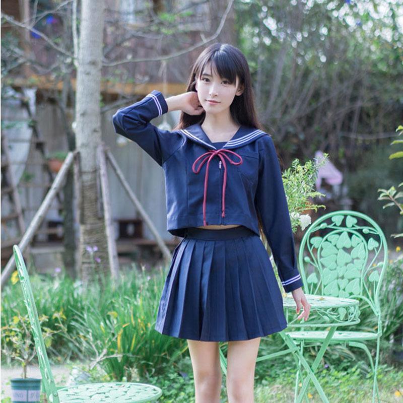 68c6c0e43 Compre Niñas Uniforme Escolar Japonés Japón Marino Uniforme De Marinero Ropa  De Graduación Camisa De La Escuela Falda Estudiantes Conjuntos U009  C18122701 A ...