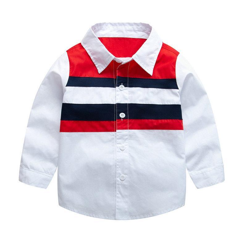 e849ded60d1be Acheter Garçons Chemise À Manches Longues Enfants Tops Couleur Matching  Shirt Pour 1T 7T Enfants Chemises Printemps Automne Tops De $10.78 Du  Arraywu ...