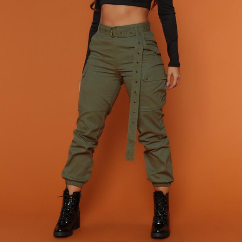 900f21bb26 Fashion Cargo Pants Women Army Green Black Color Sashes Casual Loose High  Waist Cargo Harem Pants Dancing Hip pop Capris Women C19011501
