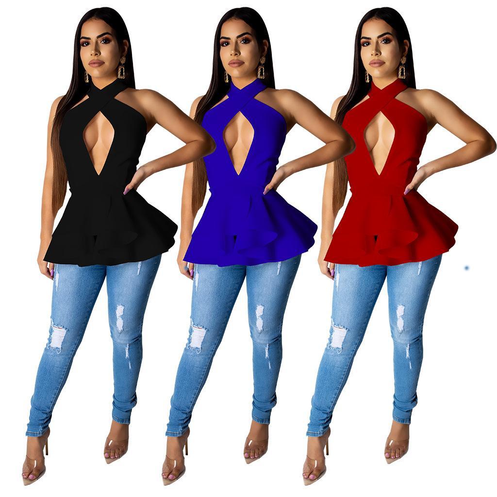 11507b4c58c57 Women Sexy Ruffle T Shirts Summer Button Halter Deep V Neck Keyhole Hollow  Side Zipper Long Asymmetrical Tops Black Burgundy Blue T Shirts Buy Online  Humor ...