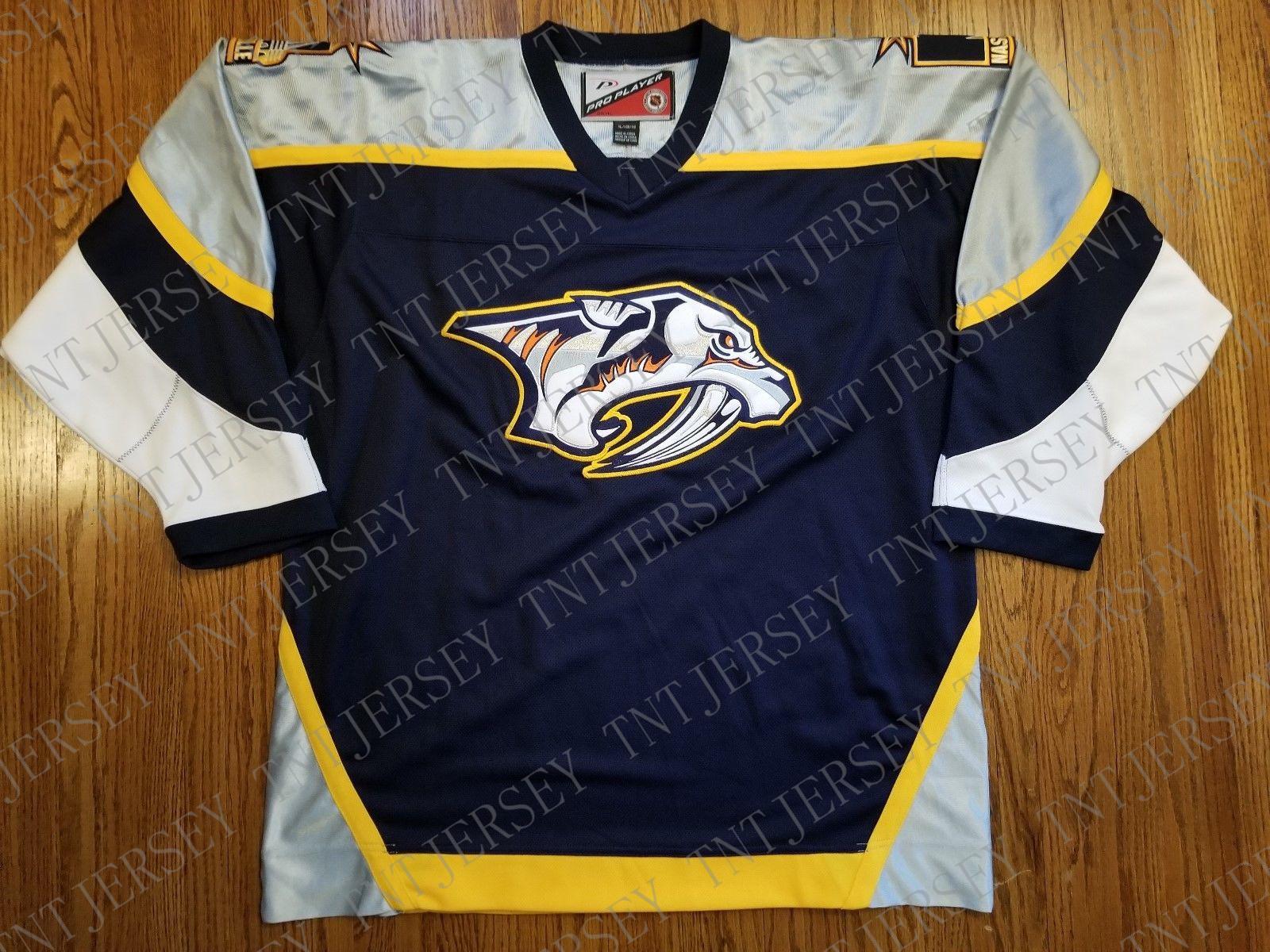 Cheap custom Nashville Predators Vintage Preds Pro Player Jersey 1999/2000  2 Stitched Retro Hockey Jersey Customize any name number XS-5XL