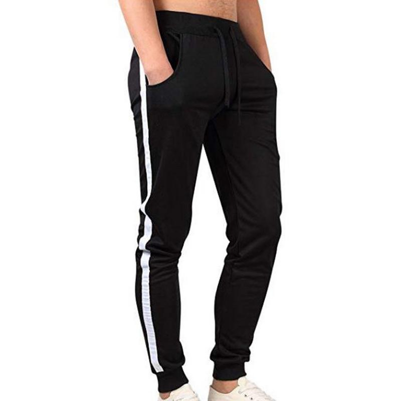 Pantalones cortos Hombre Cintura Media Pantalones Largos Moda Casuales Al Aire Libre Pantalón de Chándal Hombres Tallas Grandes Pantalones a Rayas para Jogging Fitness Running