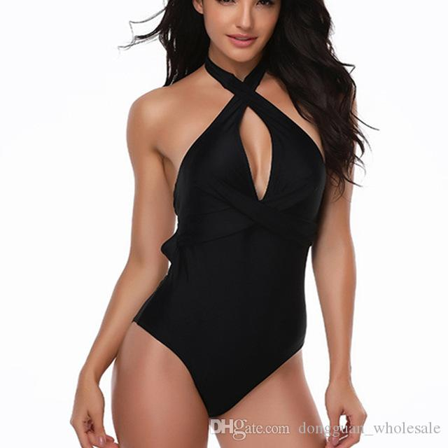 40b996aef21fd 2019 Black Solid Swimsuit Women Deep V Neck Swimwear One Piece Halter Push  Up Swimsuit Bandage Bathing Suit Wear Female Beachwear From  Dongguan_wholesale, ...