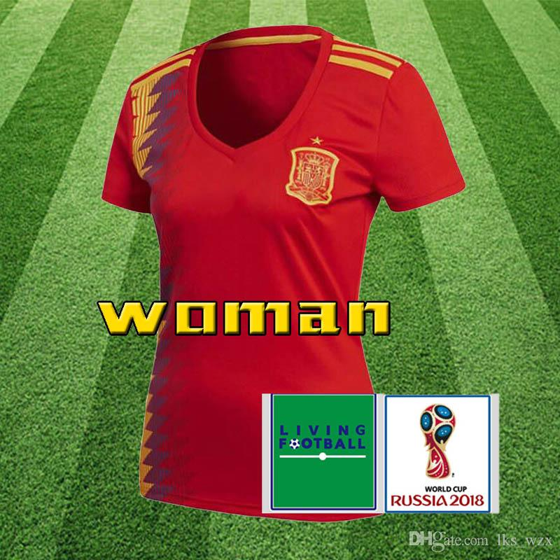 4c635105e 2019 Women Spain Thailand Red Soccer Jersey 2018 World Cup Spain Home  Soccer Jersey  22 ISCO  20 ASENSIO  15 RAMOS Football Cheap And Fine From  Lks wzx