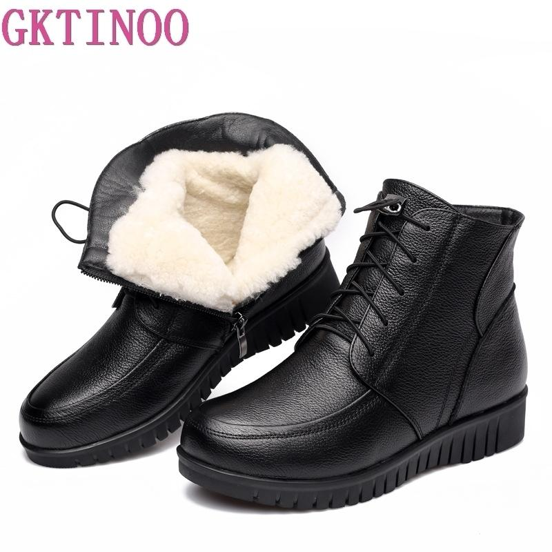 9e602f333419 Winter Women Shoes Genuine Leather Flat Ankle Boots Female Lace Up Warm  Wool Snow Boots Women Boots Womens Ankle Boots Leather Boots For Women From  Jerry10