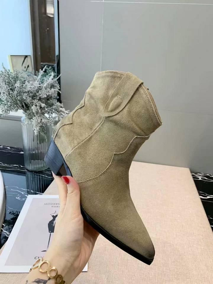 New best designer shoes top quality matte leather face classic retro short boots low with casual ladies pointed party walk fashion boots