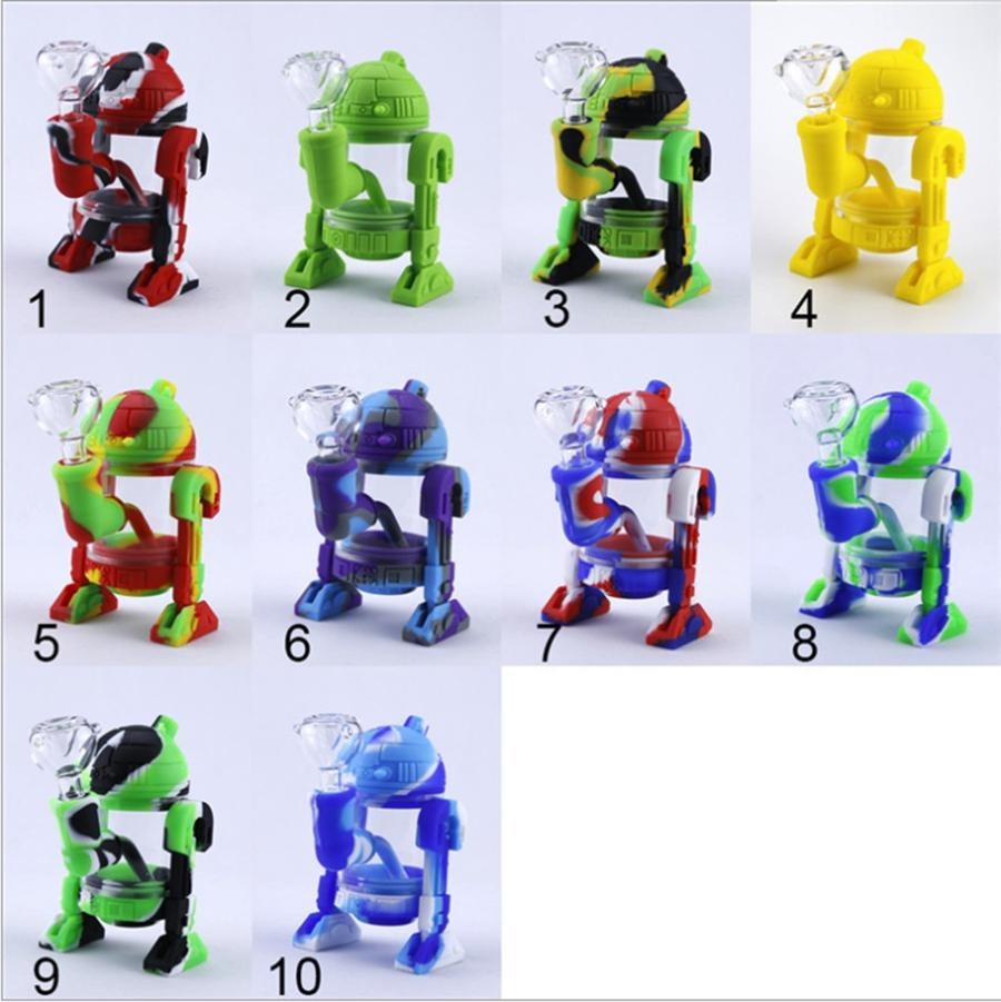 5.3 inch Robot shape Straight tube Silicon Water Pipes Smoking Bongs With Glass Bowl Mini Bubblers Glass Bong Hookah Recycler Oil Rigs DHL