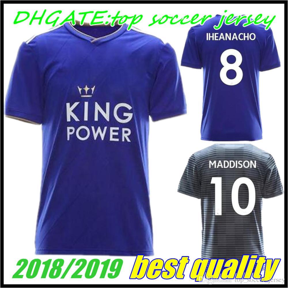 29792edfa 2018 2019 Leicester City Home Blue Away Grey Soccer Jerseys 18 19 ...