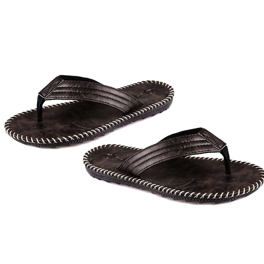Summer Men PU Leather Wearing Flip Flops Outdoor Beach Bathing Sandals Home Anti-slip Flat Slipper Shoes