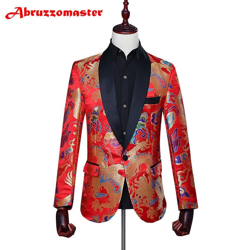 f770c01ab207c Acheter Animal Imprimer Suit Veste Costume Rouge Imprimer Blazer Châle  Revers Homme Veste Sur Mesure Homme Top Tailleur Blazer Veste + De $133.7  Du ...