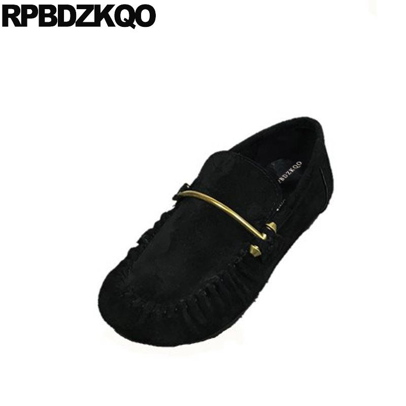 5f0c5b2891b Suede Wide Fit Shoes Ladies Chinese Moccasins Brand Designer Metal Flats Loafers  Women Round Toe 2018 Slip On European Black Gold Shoes Mens Casual Shoes ...