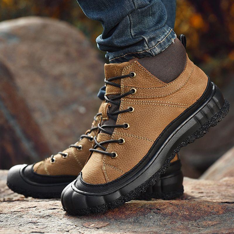 dd3c05b6f1ccd Compre Hombre Senderismo Zapatos Negro Marrón Para Hombre Invierno Piel  Zapatillas Al Aire Libre Cómodos Zapatos De Caza Parte Inferior De Goma Botas  De ...