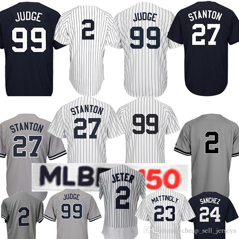 c9c760472348 Compre 99 Aaron Judge Jerseys Baseballl Jersey 23 Don Mattingly Yankees 3  Babe Ruth 7 Mickey Mantle 42 Mariano Rivera 51 Bernie Williams A $23.5 Del  ...