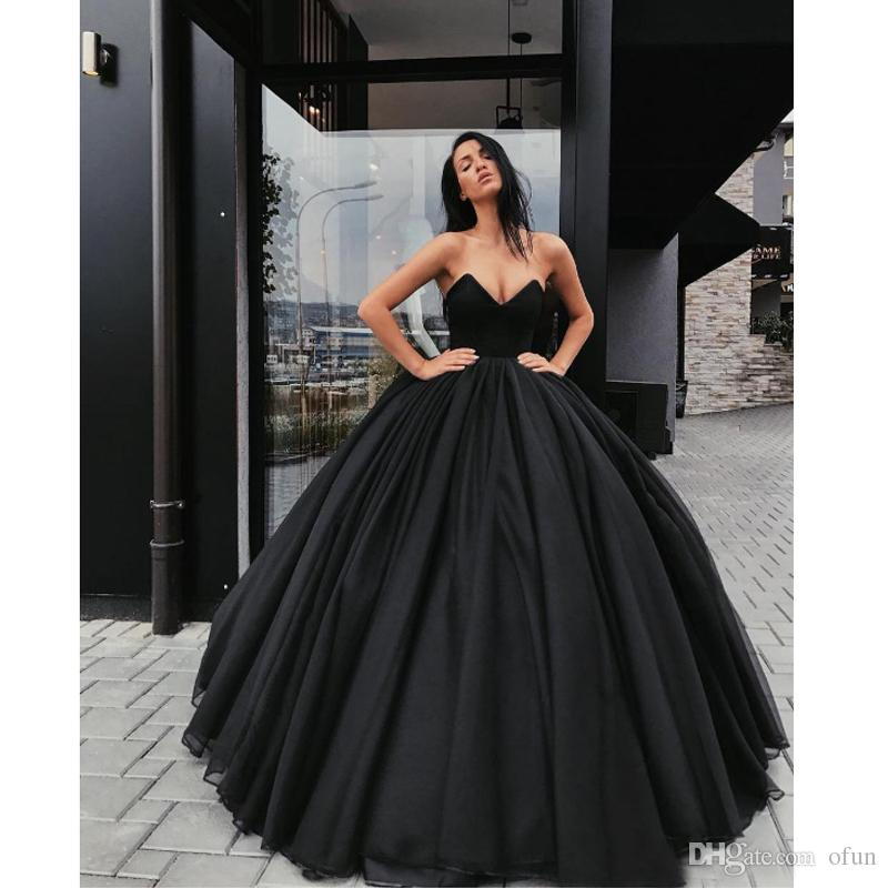 398a65652fb2 2019 Elegant Black Prom Dress Sweetheart Lace Up Long Evening Dress Ball  Gown Special Occasion Dresses High Low Prom Dresses Junior Prom Dresses  From Ofun, ...