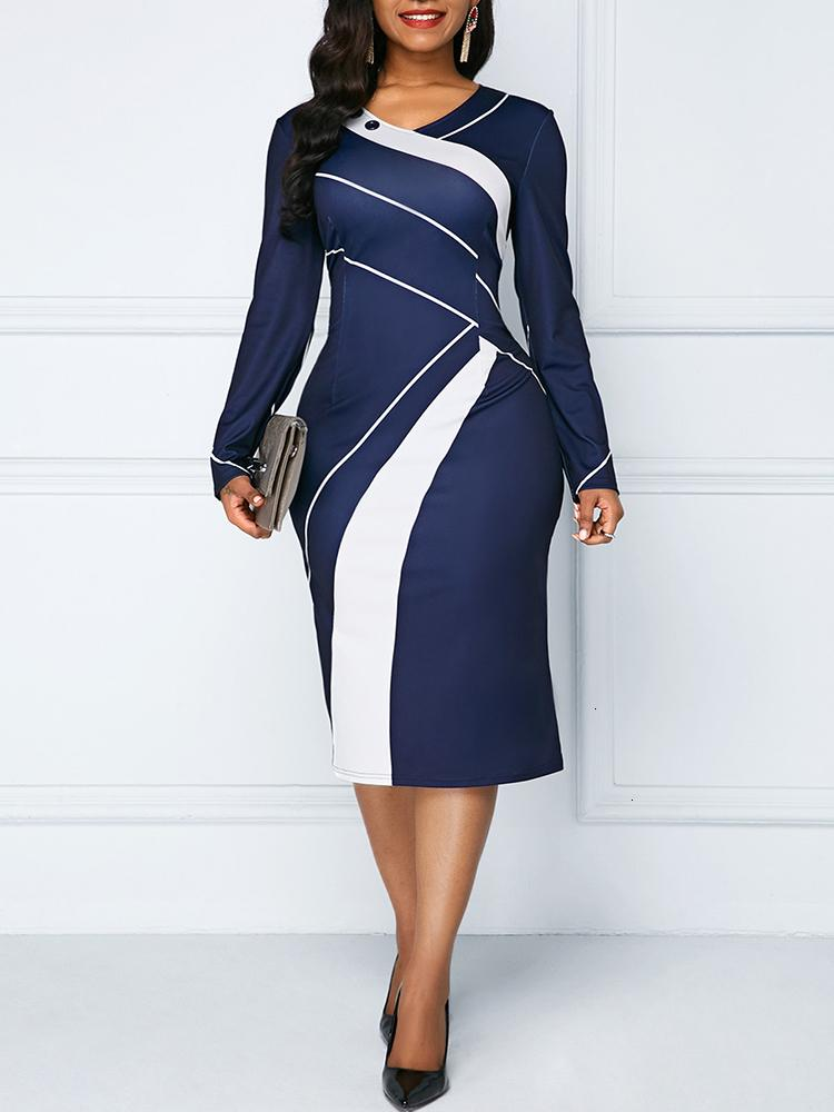 Sakazy Office Lady Geometric O-neck Women Dress Long Sleeves Colour coloured Slim And Hip wrapped Pencil 2019 Plus Size DressMX190927