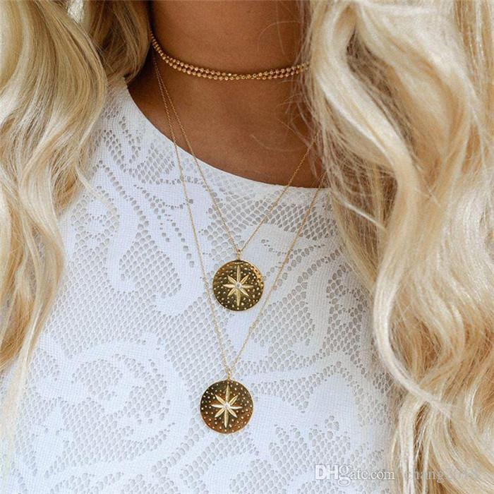 Simple Boho Coins Gold Chockers Necklace Silver Round For Women Coin Necklaces Pendants Choker Necklace Wedding Jewelry ALXY03