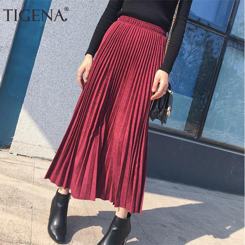 Tigena Suede Pleated Skirts Women Fashion Autumn Winter Long Maxi Female High Waist Elegant Skirt Pink Green Blue Q190508