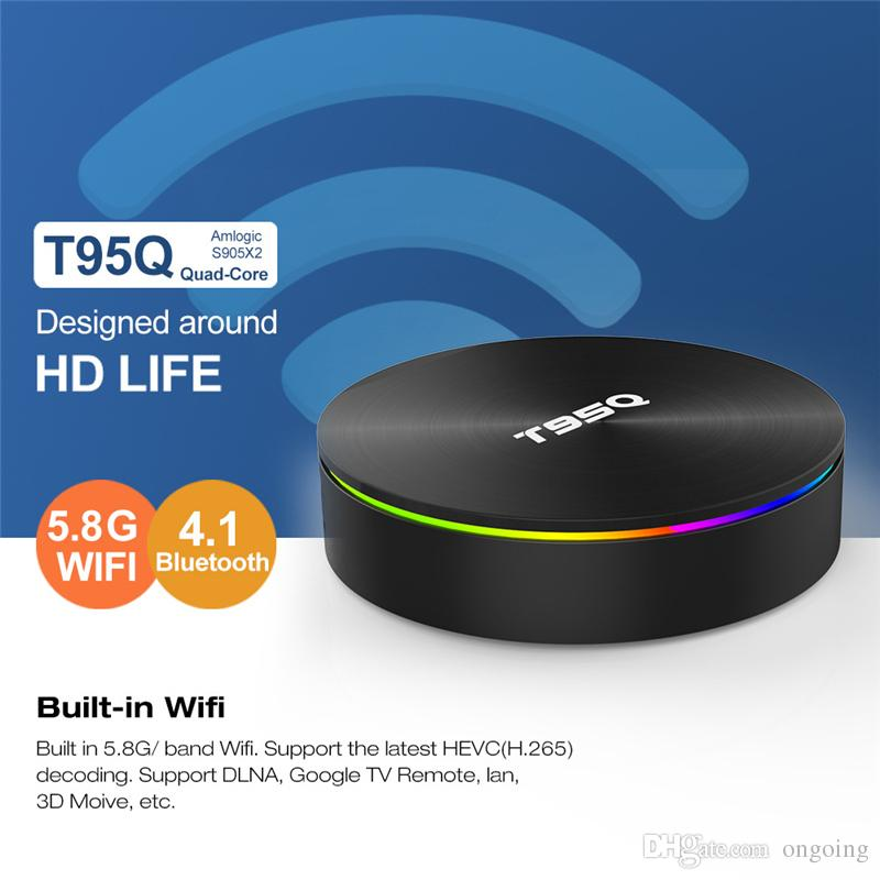 CAJA DE TV T95Q Android 8.1 Amlogic S905X2 DDR4 4GB 32GB / 64GB 2.4G 5GHz Dual Wifi Bluetooth 4K IPTV Set top box VS X96 Max