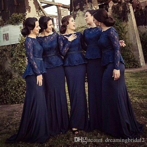 Elagant Navy Blue Bridesmaid Dresses With Sleeves Mermaid Lace Scoop