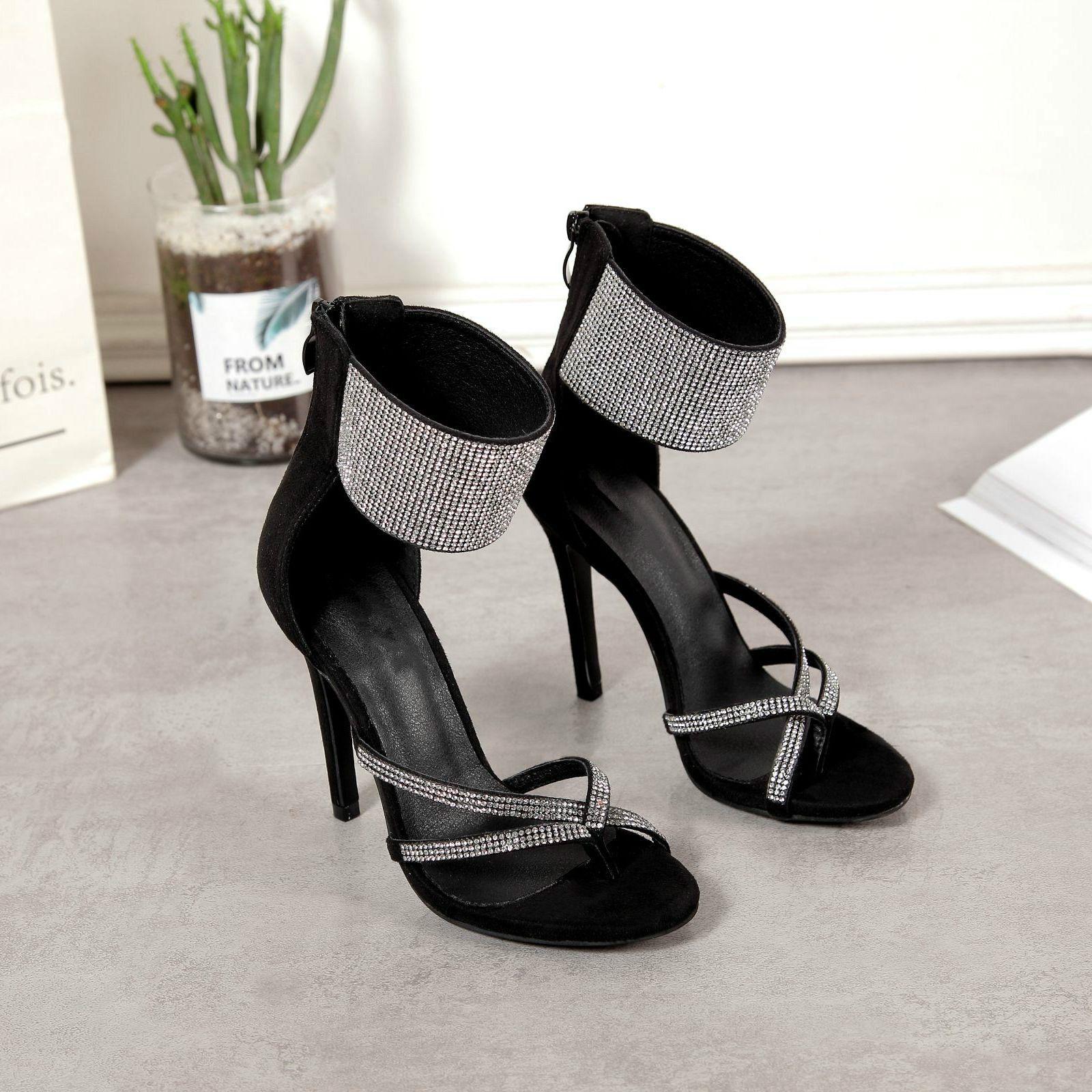 Artı boyutu 35 için 40 41 42 Glitter Siyah Elmas taklidi Stiletto topuk Ziyafet Balo Ayakkabı Sandalet