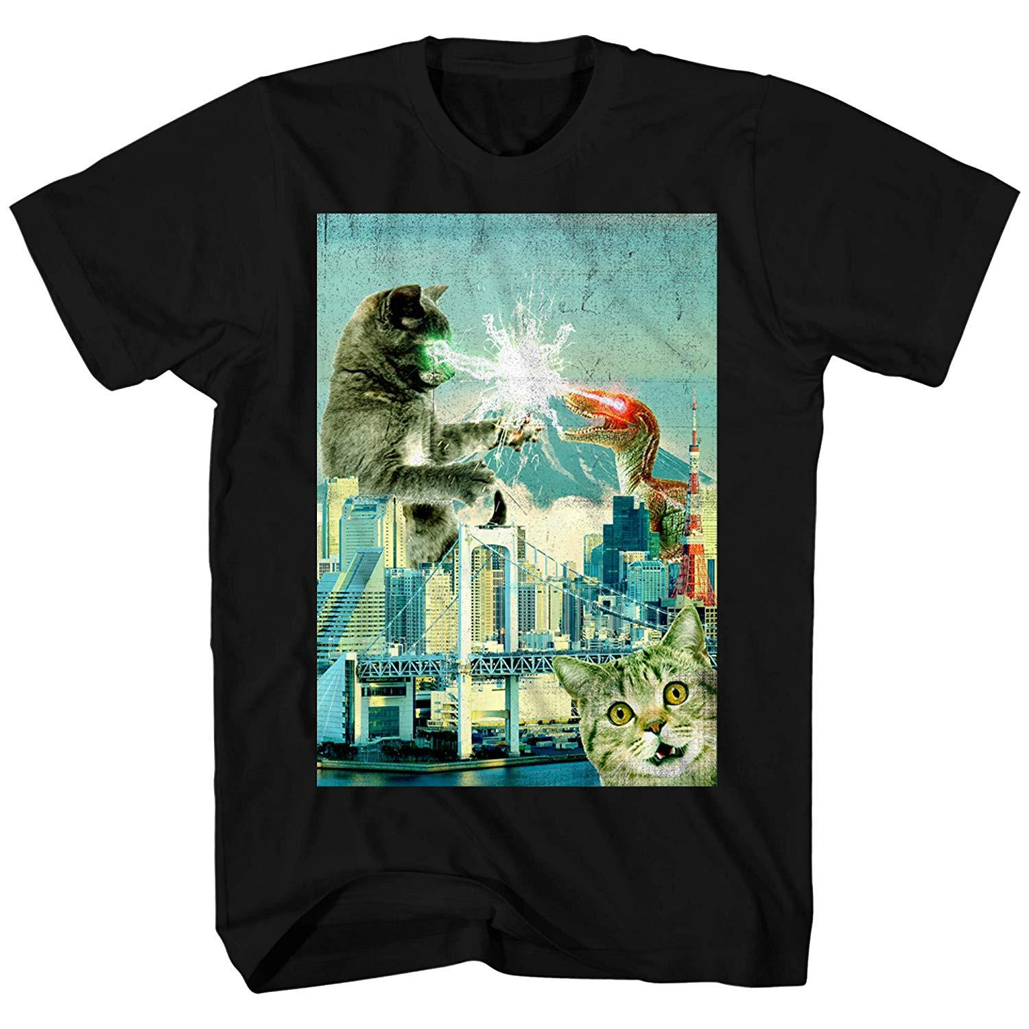 Cat Fight Dinosaur Laser Classic Retro Funny Humor Pun Adult Men's Graphic T-Shirt Tee Shirt