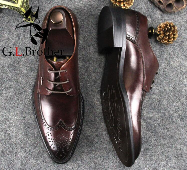 Carved Brogue Shoes Men Genuine Leather Pointed Toes Lace Up Breathable  Wedding Dress Shoes Flats Smart Casual Summer Brogue Shoe Boots Sexy Shoes  From ... 0498a0c5555b
