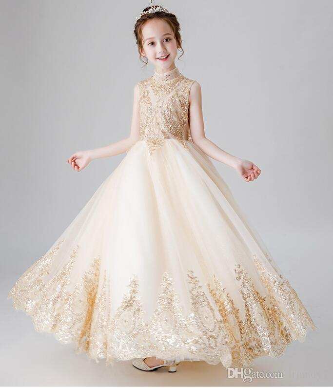 0b945d9d2e2 Gold Lace Flower Girl Princess Dress Sequin Lace Party Wedding Toddler Girls  Dresses Kids Party Wear Girl First Communion Gowns Special Occasion Dresses  ...