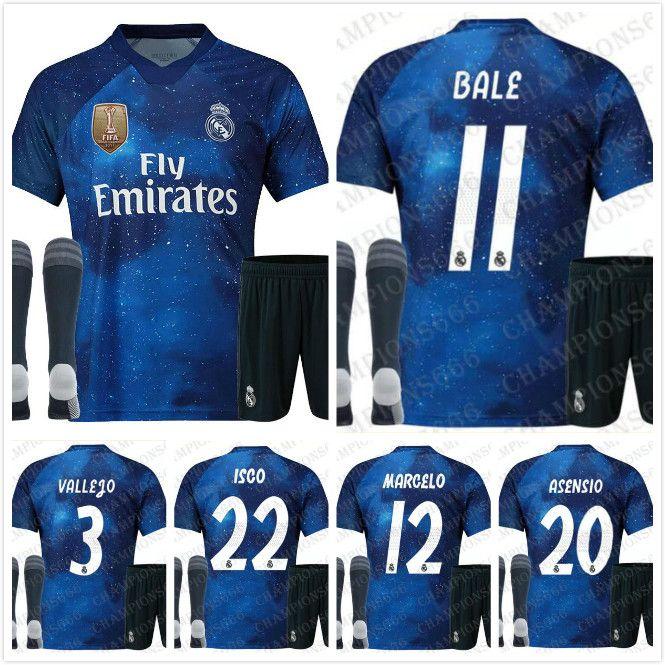 ad4cdd264af ADULT KIT+Socks Real madrid EA Sports soccer jerseys ASENSIO MODRIC soccer  jersey RAMOS Camiseta 19 20 real madrid third red maillot Custom