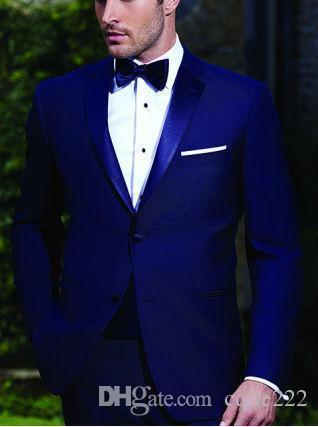 New High Quality Two Buttons Royal Blue Groom Tuxedos Notch Lapel Groomsmen Best Man Wedding Prom Dinner Suits (Jacket+Pants+Bow Tie) 643
