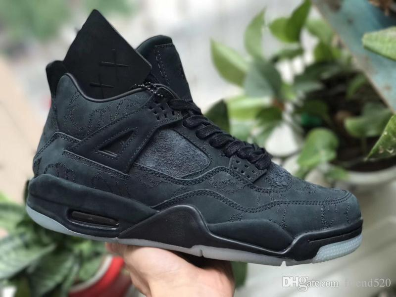 best sneakers efe10 b89bd Hot Originals KAWS x 4 Cool Grey Black 4S IV Basketball Shoes For Men  Authentic Sneakers Suede With Box 930155-001 930155-003