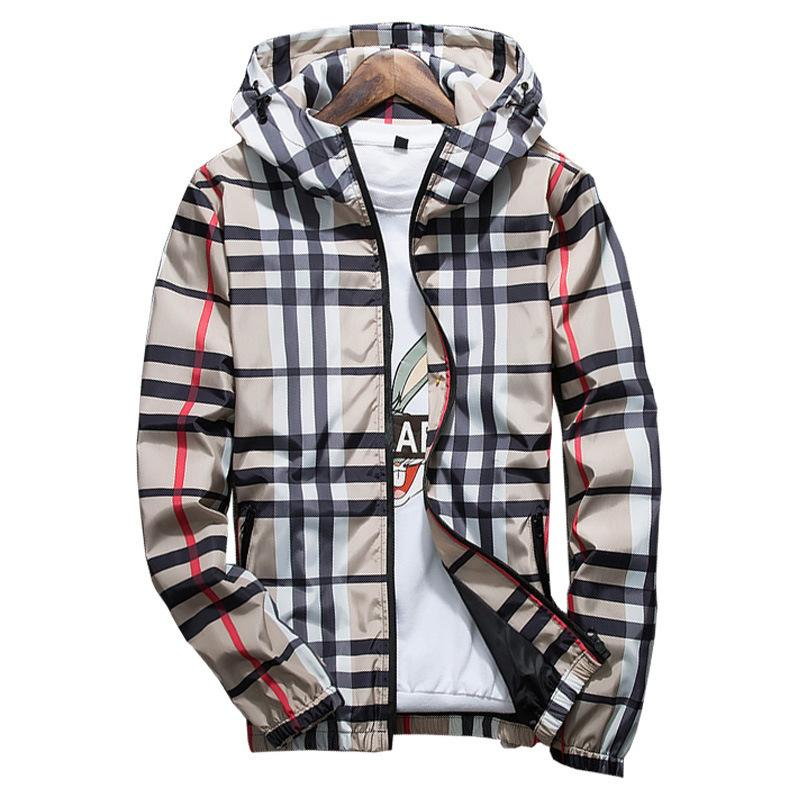 Fashion Plaid Jacket Men Casual Spring Autumn Slim Fit Zipper Mens Jackets Long Sleeve Homme Windbreaker Coat Male Outwear C190416